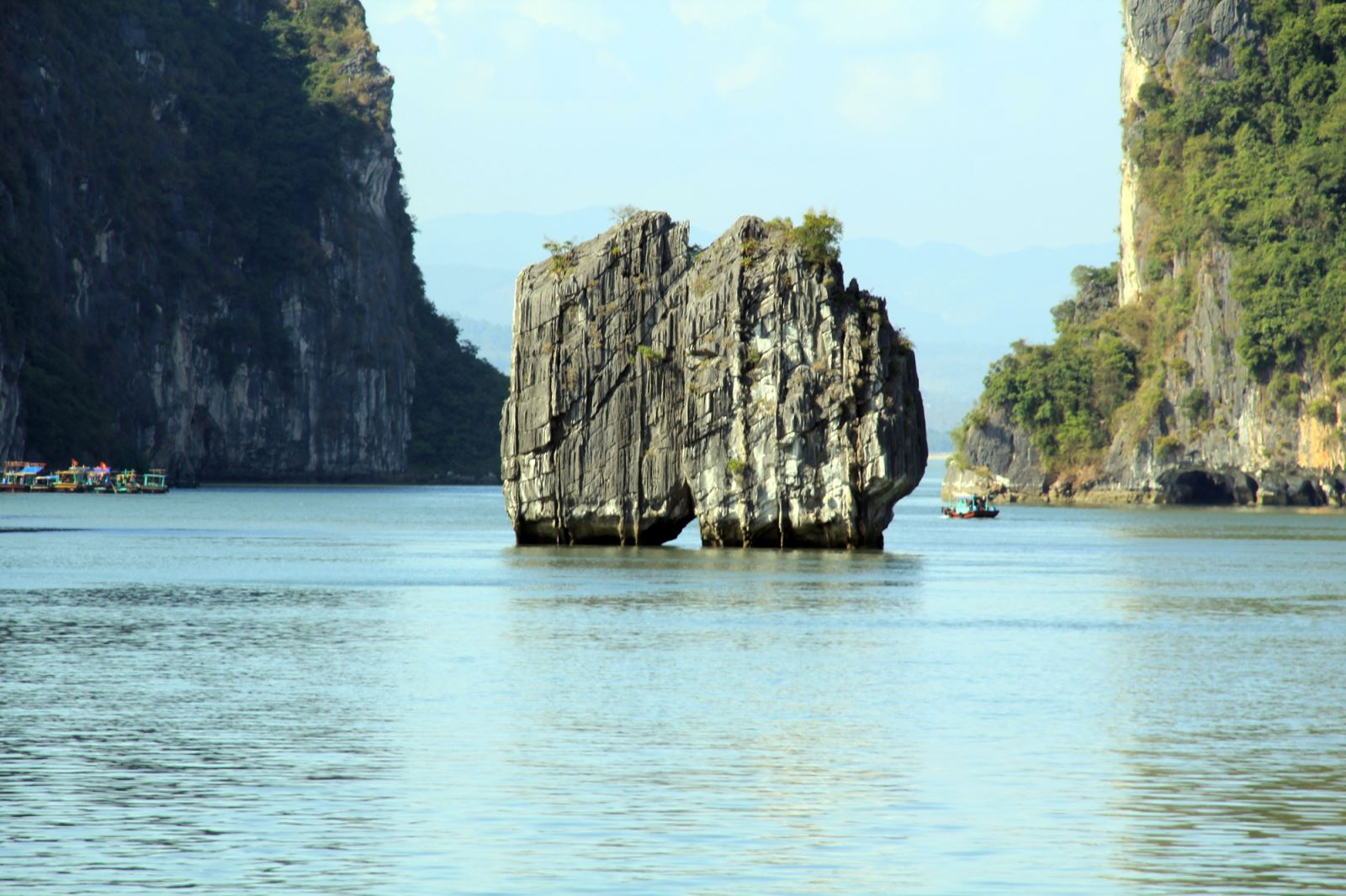 Grayline cruise passing Dinh Huong islet in Halong bay
