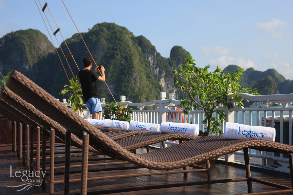 View from sundeck of Halong Legacy legend cruise