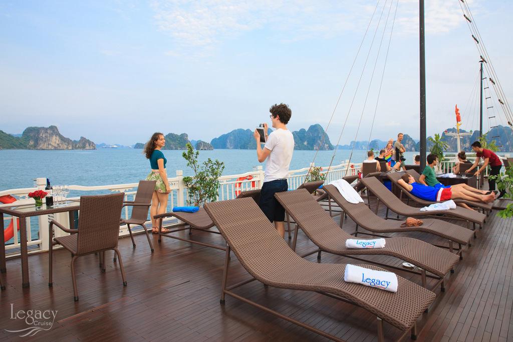 halong legacy cruise sundeck where relax and enjoy amazing view