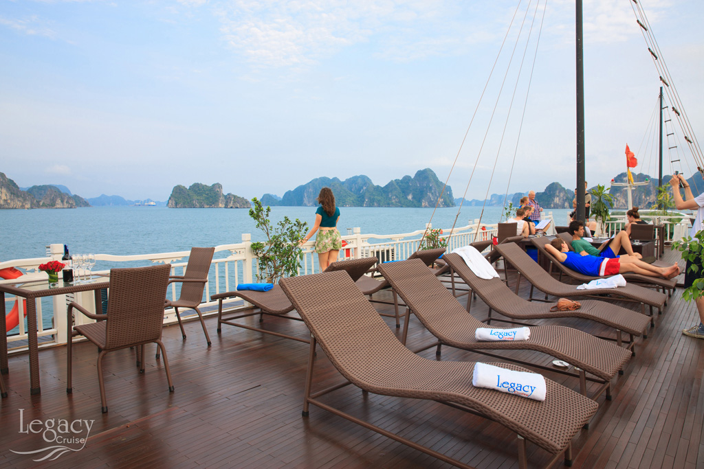Relax on sundeck of Halong legacy legend cruise