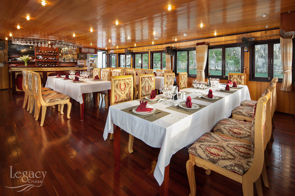 Dinning room on Halong Legacy Legend cruise