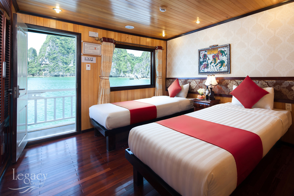 Deluxe ocean twin beds room on Legacy Legend cruise