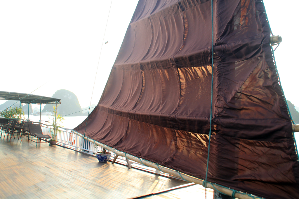 traditional sails on Halong Legacy Legend cruise