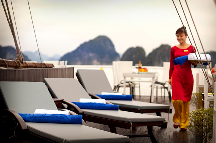 Services on sundeck of Halong Signature cruise